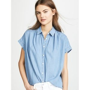 Madewell Blue Denim Jeans flowy Short Sleeve Shirt